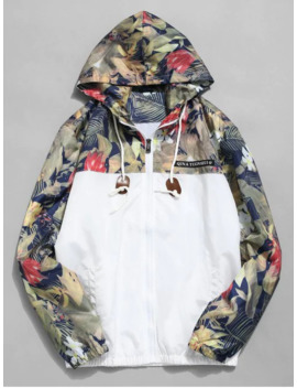 Floral Printed Patchwork Hooded Jacket   White M by Zaful