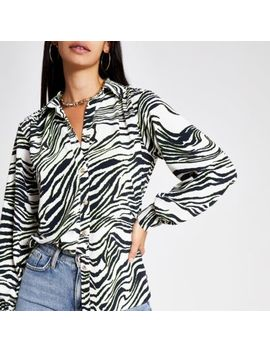 Cream Zebra Print Utility Shirt by River Island