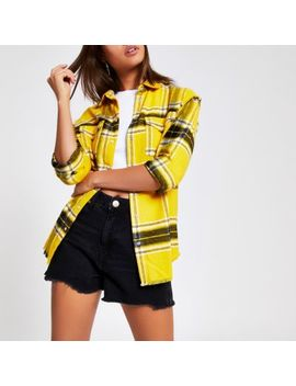 Yellow Long Sleeve Check Shirt by River Island