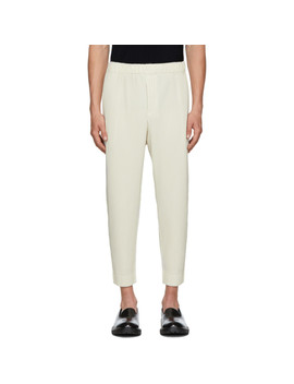 Off White Mc June Trousers by Homme PlissÉ Issey Miyake