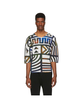Multicolor Pleated Graphic T Shirt by Homme PlissÉ Issey Miyake