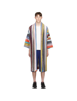 Multicolor Striped Coat by Homme PlissÉ Issey Miyake