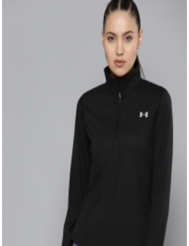 Women Black Solid Streaker Half Zip Fitted Running T Shirt by Under Armour