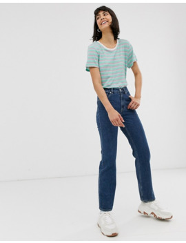 Monki   Imko   Jeans Dritti In Cotone Organico Blu Medio by Monki