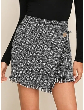 Raw Hem Detail Wrap Tweed Skirt by Shein