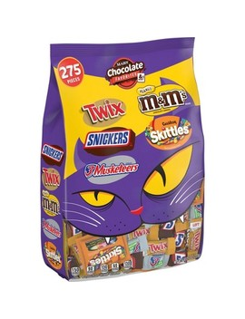 Mars Chocolate Favorites & More Peanut M&M's Skittles Snickers Twix And 3 Musketeers Halloween Variety Bag   96.12oz / 275ct by Mars