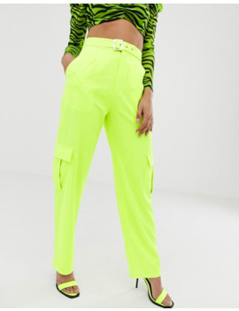 Naa Naa High Waist Combat Trousers In Neon Lime by Naa Naa