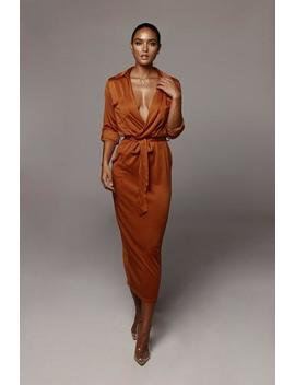 Rust Jaira Collared Dress by Jluxlabel