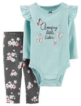 2 Piece Butterfly Bodysuit Pant Set by Carter's| Baby