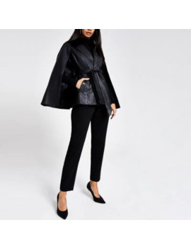 Black Faux Leather Textured Cape Jacket by River Island
