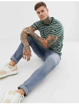 Topman Striped T Shirt In Green & Ecru by Topman