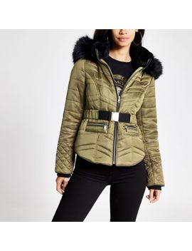Khaki Faux Fur Hood Padded Jacket by River Island