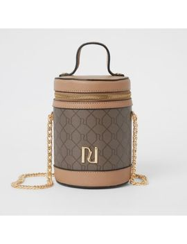 Brown Ri Monogram Cylinder Zip Top Bag by River Island