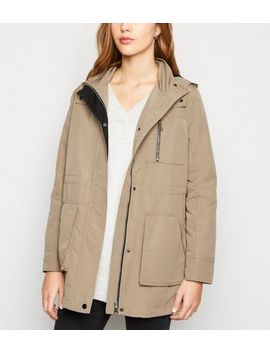 Camel Zip Up Hooded Anorak by New Look