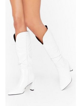 Slouch Heeled Knee Boots by Nasty Gal