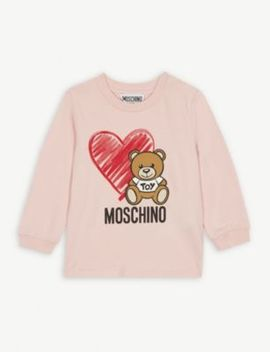 Bear And Heart Cotton Sweatshirt 3 36 Months by Moschino