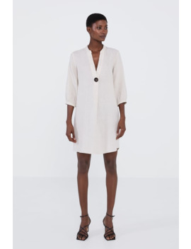 Linen Tunic With Button by Zara