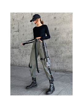 Shira   Buckled Accent Jogger Pants With Pouch by Shira