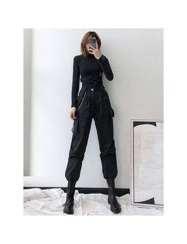Shira   Buckled Accent Cargo Jogger Pants With Suspender by Shira