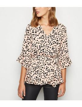 Influence Pink Animal Print Wrap Blouse by New Look