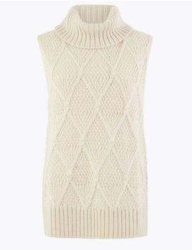 Sleeveless Cable Roll Neck Jumper by Marks & Spencer