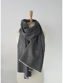 Gray Oversized Tweed Scarf   Big Wool Scarf   Black White Shawl   Woven Long Scarf   Woman Scarf   Men Scarf   Fashion Wool Clothing by Etsy