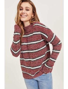 Fuzzy Striped Mock Neck Sweater by Ardene