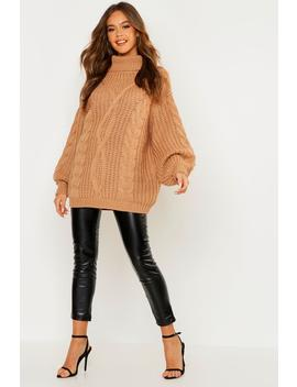 Roll Neck Oversized Cable Knit Jumper by Boohoo