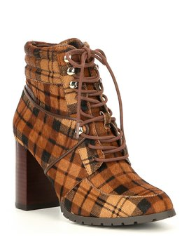 Grayciee Laceup Plaid Print Calf Hair Block Heel Hiker Booties by Antonio Melani
