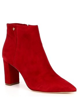 Shahn Suede Pointy Toe Block Heel Booties by Antonio Melani