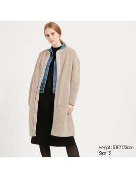 Pile Lined Fleece Collarless Coat by Uniqlo