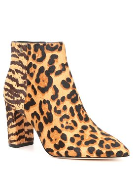 Shahn Animal Print Calf Hair Pointy Toe Block Heel Booties by Antonio Melani