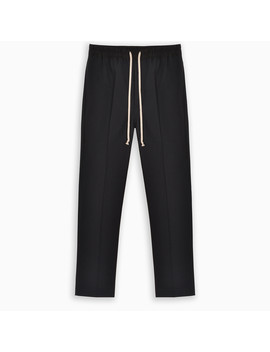 Black Drop Crotch Cotton Trousers by Rick Owens
