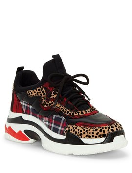 Speedey Plaid & Leopard Print Sneakers by Jessica Simpson