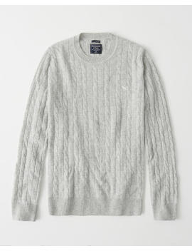 Cashmere Icon Cable Crew Sweater by Abercrombie & Fitch