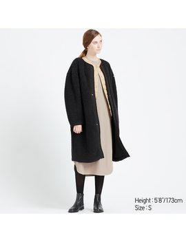Women Fleece Lined Collarless Coat (4) by Uniqlo