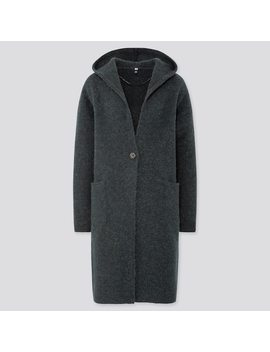 Women Melange Wool Knit Hooded Coat (4) by Uniqlo