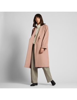 Women Wool Blend Wrap Coat (2) by Uniqlo