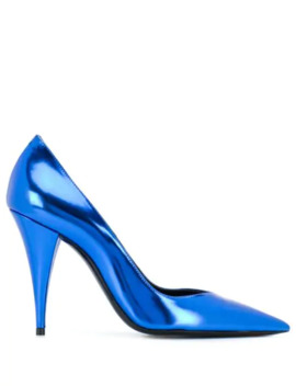 Metallic Kiki Pumps by Saint Laurent