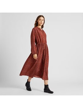 Women Printed V Neck Long Sleeved Maxi Shirt Dress (2) by Uniqlo