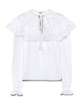Embroidered Cotton Blouse by Miu Miu