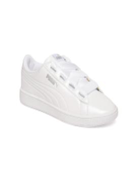 Women White Vikky Ribbon P Sneakers by Puma