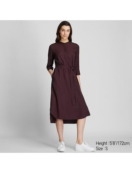 Women Rayon Striped 3/4 Sleeved Belted Dress (8) by Uniqlo