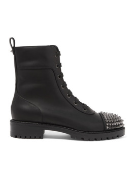 Spiked Leather Ankle Boots by Christian Louboutin