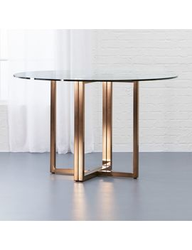 "Silverado Brass 47"" Round Dining Table by Crate&Barrel"