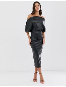 Asos Design Tall   Robe Fourreau Mi Longue En Pu à épaule Drapée by Asos Design