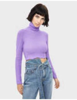 Sweater Cropped Com Gola Dobrada by Bershka