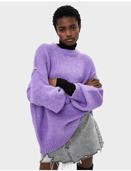Sweater Oversize Com Decote Redondo Null   Bershka Portugal by Bershka