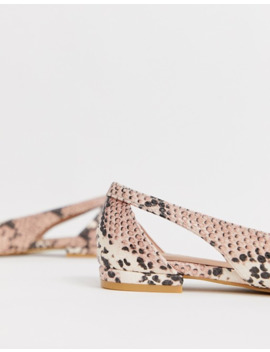 New Look   Mocassins Pointus Effet Serpent   Rose by New Look