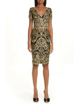 New Marchesa Notte Black Gold Floral Embroidered Lace V Neck Sheath Dress 6 Us S by Marchesa